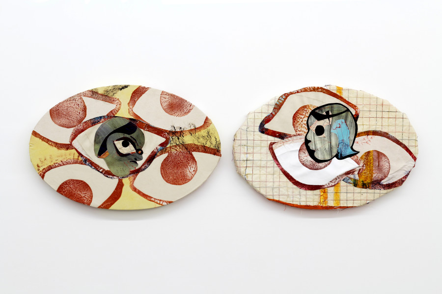 "Eyes That See Diptych Oil, acrylic and handmade paper on canvas 36.5"" wide (each) 2016"